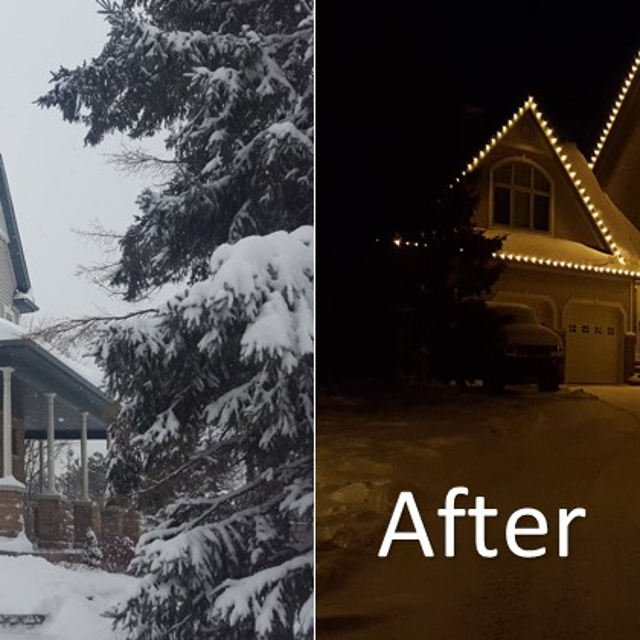 Before and after holiday lighting