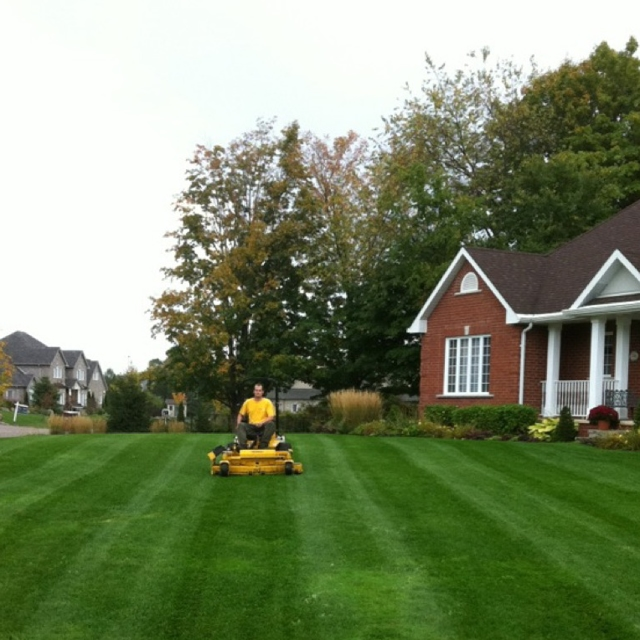 The Grounds Guys employee mowing a residential lawn